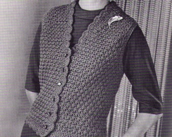 PDF - Women Vest Crochet Pattern  Bust Sizes 30 to 44 inches Instant Download