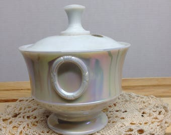 Westmoreland Iridescent Mother of Pearl Milk Glass Covered Candy Dish