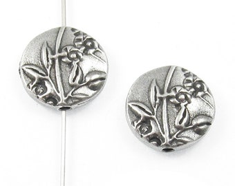 TierraCast Double-Sided Puffed Coin Beads-Pewter Jardin 15mm (2 Pcs)