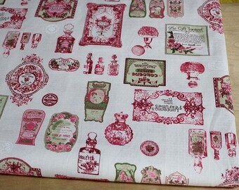 6329A - Cotton Linen Blend Fabric - Perfume bottle ( pink) - by the yard