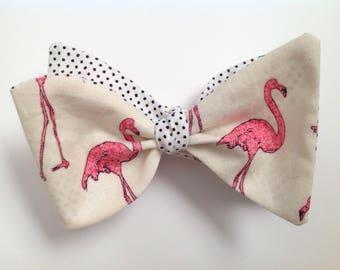 Flamingo men's bow tie reversible with tiny black polka dots tie it yourself bow tie, freestyle men's bowtie, wedding bowties, tropical