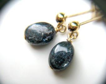 Kyanite Studs Earrings Gold . Stud Dangle Earrings Women . Crystals for Meditation Stones . Blue Kyanite Earrings