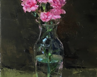 """Oil painting of carnations in a glass vase (""""Pink Carnations"""")"""