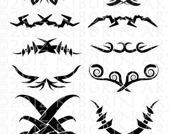 10 Tribal Symbols Digital Clipart - Great for Tattoo Design