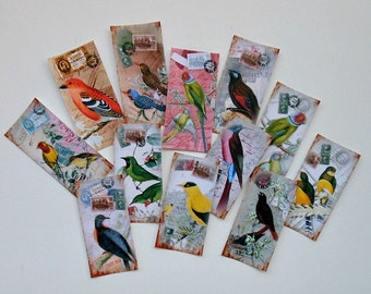 Beautiful BIRDS- 12 Domino Tile STICKERS- Vintage designs, Make colorful bird collages, gift tags, bookmarks