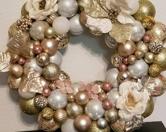 Rose Gold/Gold Ornament Wreath