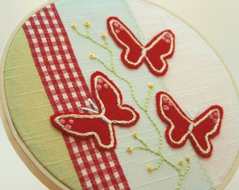Red Butterfly Picture - Embroidery Wall Art/Hoop Art
