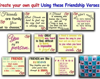 Friendship Verses -  Machine Embroidery Designs. 10 Different Designs included. Create a friendship quilt with these verses.