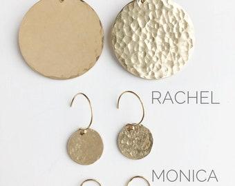 Disc Earrings, Hammered Disc Earrings, Hammered Earrings, Gold Disc Earrings, Silver Disc Earrings, Round Earrings, Dangle Earrings, Circle