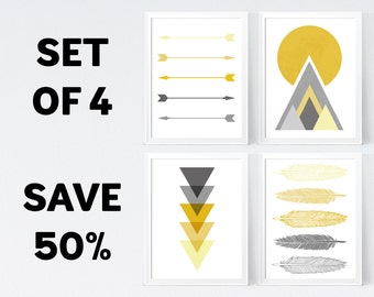50% OFF, Mustard Grey Wall Art - Temporary Offer - Only 1 Unit Available - INSTANT DOWNLOAD