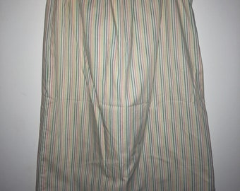Rainbow vertical stripes on white vintage skirt