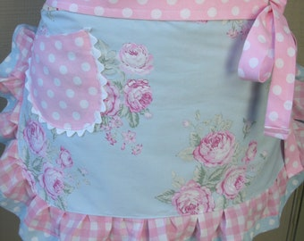 Womens Aprons - Pink Rose Aprons - Pink Cottage Aprons - Aprons with Pink Roses - Bridal Gifts - Annies Attic Aprons - Bridal Shower Aprons