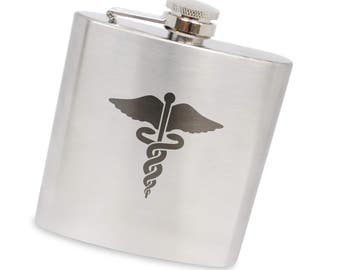 Caduceus Medical Symbol 6 Oz Flask, Stainless Steel Body, Handmade In Usa