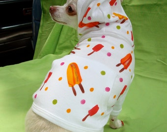 Cool Doggie Hoodie, Ice Cream Pops,  Hand Painted, Cotton, Whimsical, Fun