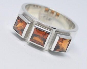 Hand Made Ring- Hessonite Garnets (3) -Natural Gem Stones