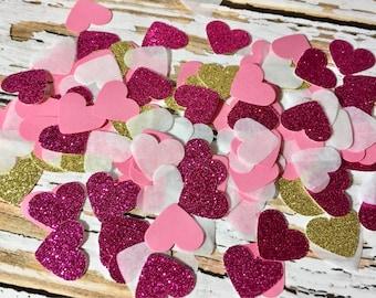 Valentine decor, Pink Heart Confetti, Pink and Gold Glitter confetti, Party confetti, Baby shower confetti, Table scatter