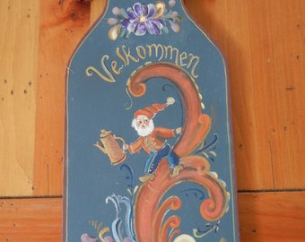 """Scandanavian Welcome/""""Velkommen"""" Sign hand painted by me and signed"""