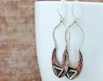 mixed metal jewelry | hammered copper earrings | bohemian jewelry | boho earrings | gypsy jewelry | mixed metal earrings | long earrings
