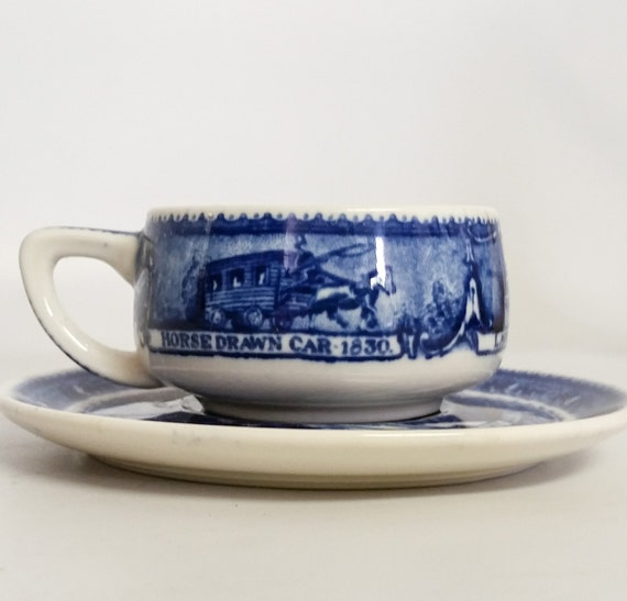 Vintage Scammells Lamberton China Design Demitasse Cup & Sauce Collectors-Baltimore And Ohio Railroad  Patented