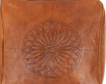 Brown Leather Moroccan Pouf.  Leather Ottoman