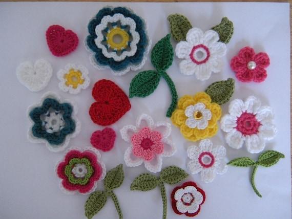Crochet Flower Applique Patterns 10 Flowers 2 Leaves 1 Heart From