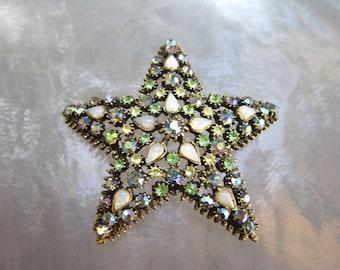 Big beautiful vintage AB rhinestone and faux opal openwork star brooch - estate jewelry r