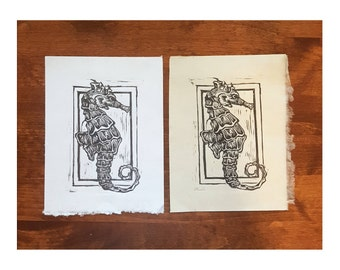 Seahorse Linocut Print