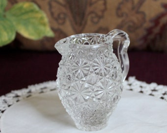 Miniature EAPG daisy and button pitcher.  Child's toy or possibly early candy container