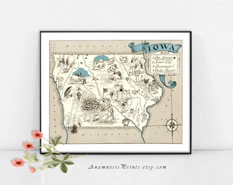 IOWA MAP Print - size & color choices - personalize it - framable map art - perfect vintage map gift for many occasions - wall decor