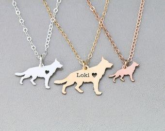 German Shepherd Necklace • Personalized Dog Mom Gift Shepherd • Dog Jewelry • Dog Breed New Puppy Dog Gift Personalized Pet Custom Dog Shape