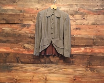 1940s 1950s Wool Jacket, Peplum Waist, Tweed