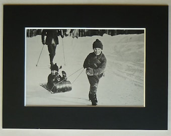 1950s Vintage Print of Children Sledging, Snow Decor, Available Framed, Snowy Art, Icy Winter Gift, Sledge Photography, Old Sleigh Wall Art