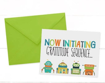 Robot Thank You Cards, Robot Note Card, Robot Birthday Party, Blank Thank You Cards, Printed Thank You Cards-SET OF 10