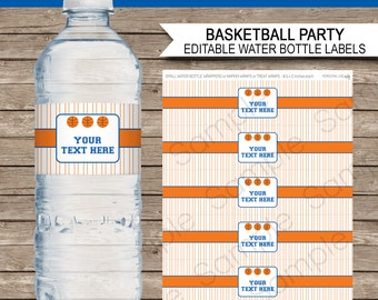Basketball Party Water Bottle Labels or Wrappers - Orange Blue - INSTANT DOWNLOAD & EDITABLE template - type your own text in Adobe Reader