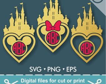 Disney Castle SVG Disney Svg Disney Monogram Svg Princess Castle Svg Frame Cut Files - Svg Dxf Silhouette Studio Cricut Png Eps