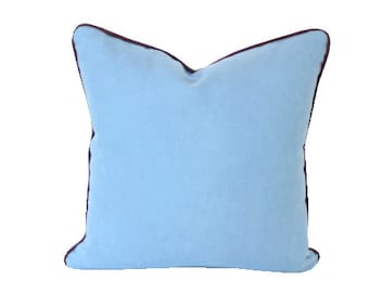Dusk Blue Linen Pillow Cover with Chocolate Brown Piping