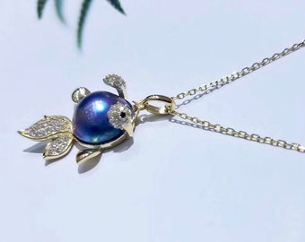 12-13mm Genuine Mabe Pearl Goldfish w/Cubic Zirconia in 925 Sterling Gold Chain Necklace, Cute Goldfish Lustrous Mabe Pearl Pendant Necklace