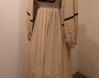Crochet Dress    Marianne Dress, Vintage Maxi Dress, 1960s, Balloon Sleeve Dress, Peasant Dress, Renaissance Fair, Halloween Costume