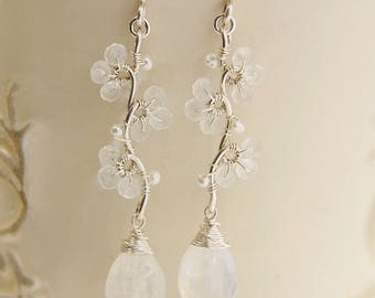 Moonstone Bridal Dangle Earrings, June Birthstone Earrings, White Flower Earrings, Teardrop Earrings Sterling Silver