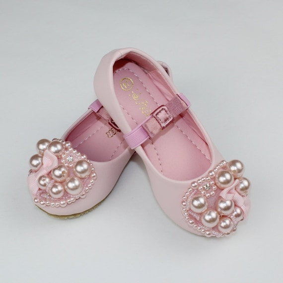 Light pink flower girl shoes toddler girl shoespearl party mightylinksfo Choice Image