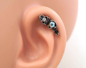 Cartilage Earring 16 Gauge Ornate Aurora Borealis
