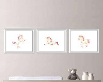 Watercolor Unicorn Nursery Art Print. Unicorn Print. Girl Nursery Art. Girl Nursery Decor.  Unicorn Bedroom Art. Girl Bedroom Art. (NS-875)