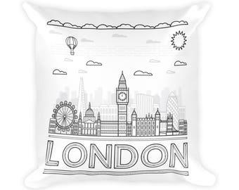 "LONDON SKYLINE PILLOW 18""x18"", London Pillow, London Art, London Gift, London Print, London Illustration, Vintage, London Decor, Retro, Gift"