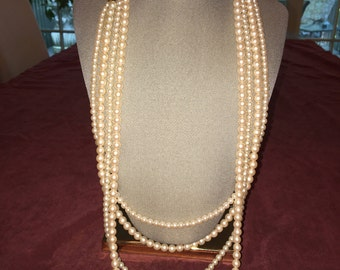 Faux Pearl Four Strand Necklace With Pearl Clasp - 1980's