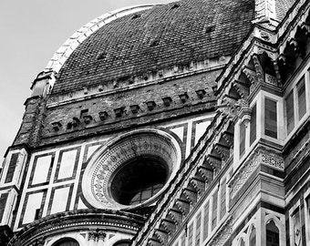 Printable travel photography | black and white home decor artwork | architecture photo | Duomo, Florence Italy picture | Instant download