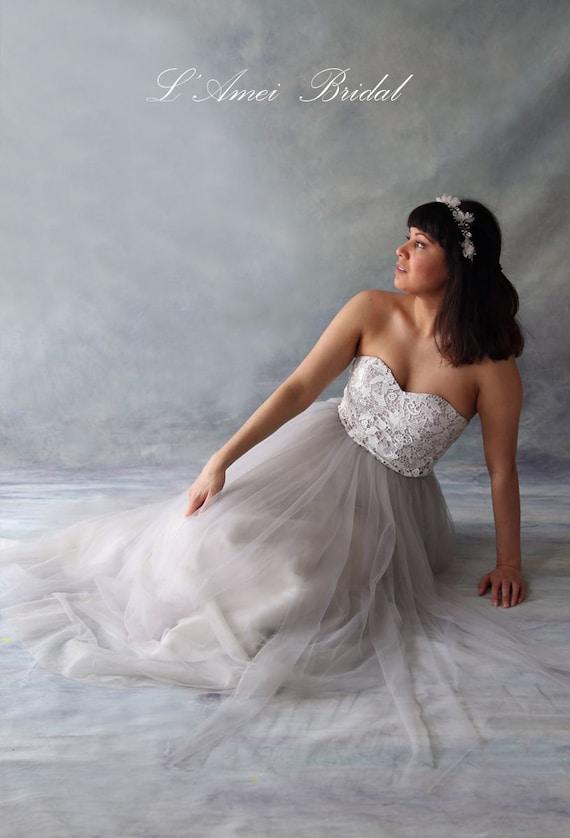 SALE Custom L\'Amei Light Grey Tulle Wedding Dress with