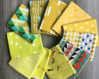 Cotton and Steel Yellow Colorway FQ Bundle of 11