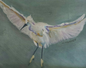 Snowy Egret Flying Original Watercolor and Gouache Painting