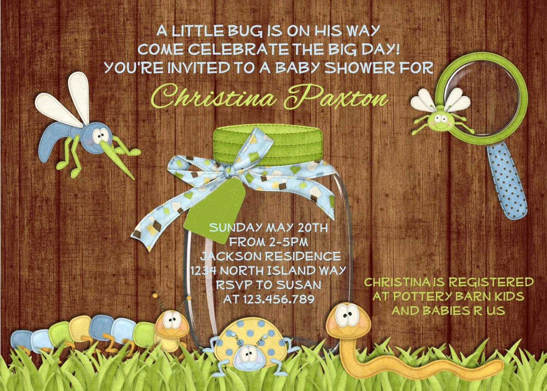 Rustic Bug Boy Baby Shower Invitation Wood Caterpillar