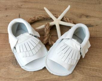 SALE!  Gladiator Moccs in White // White Baby Mocassins // Baby Mocassins // Baby Girl Sandals // White Baby Sandals